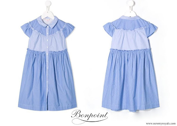 Princess Estelle wore BONPOINT ruffled panel dress