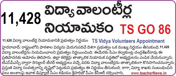 TS (VVs) Vidya Volunteers Online Application form for 11428 Posts Recruitment in Telangana