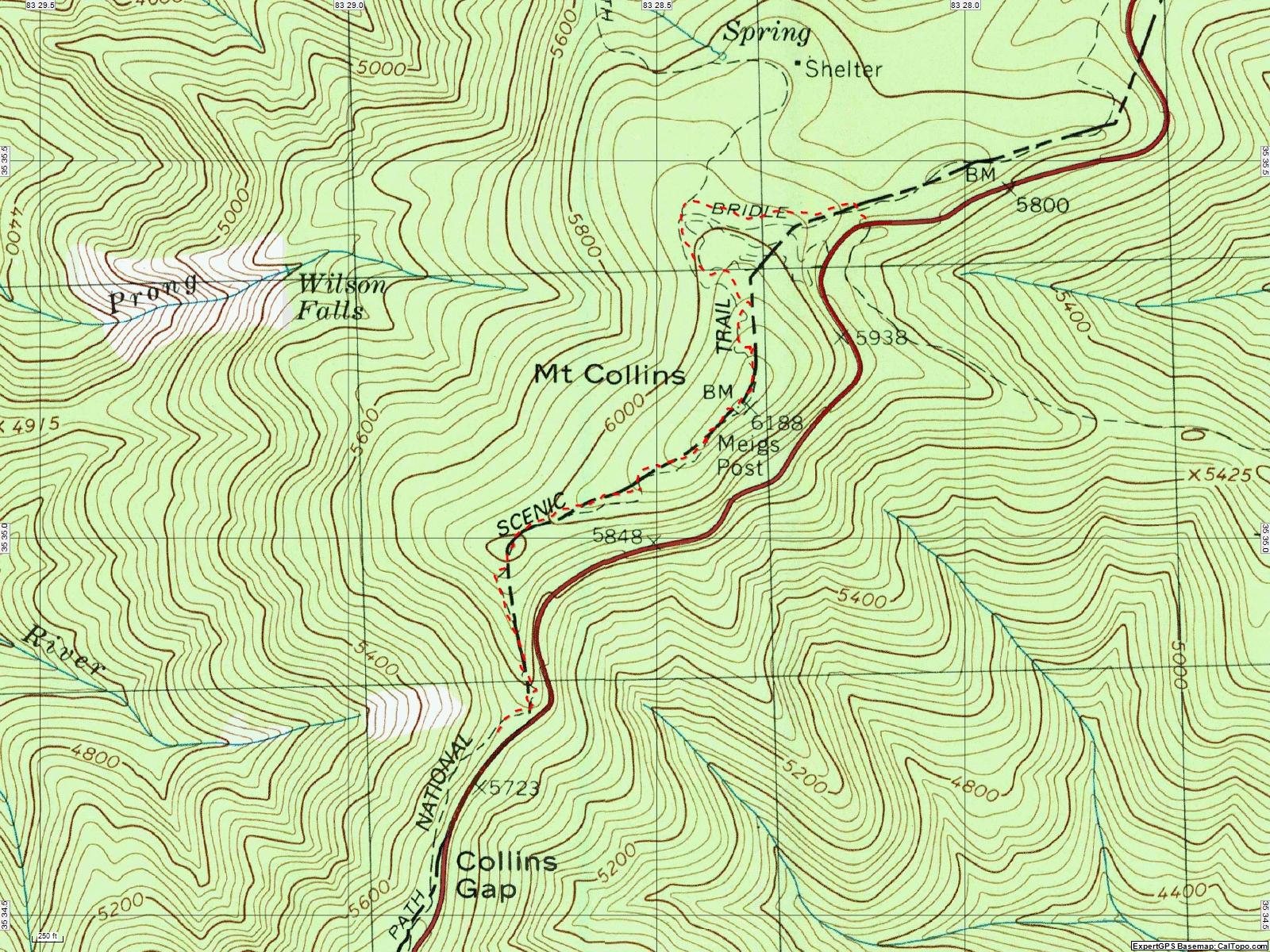 American Travel Journal Collins Gap To Fork Ridge Trail - Appalachian trail topo map