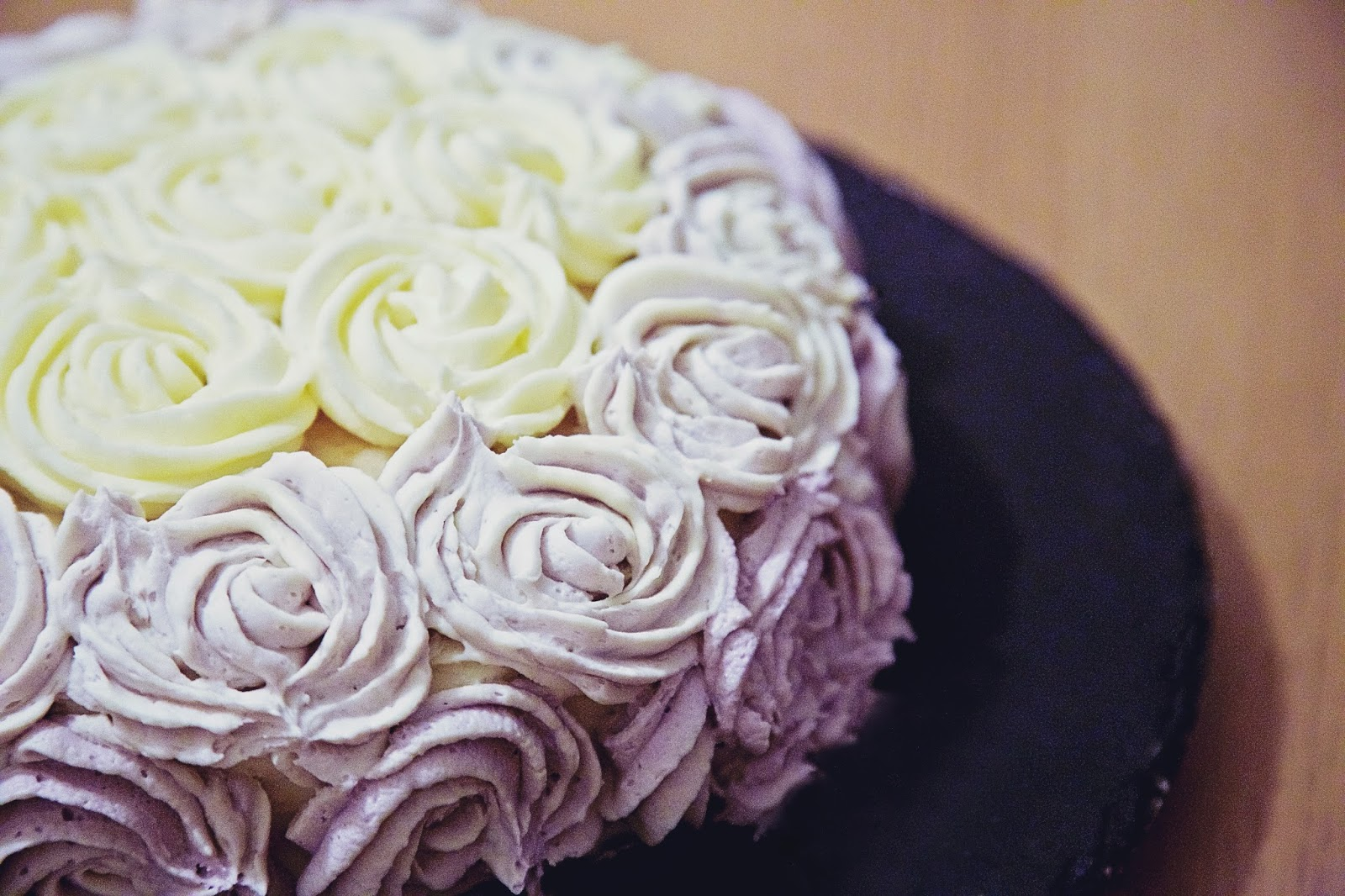 Close up of the swirled icing of the ombre cake