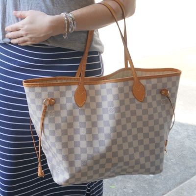 Louis Vuitton MM damier azur neverfull with striped maxi skirt | Away From The Blue