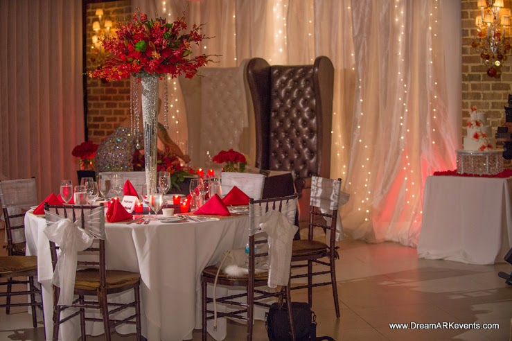 Wedding reception red and white flower tall centerpiece