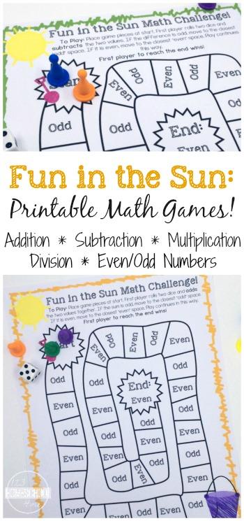 Fun Math Games for Summer (free printables)