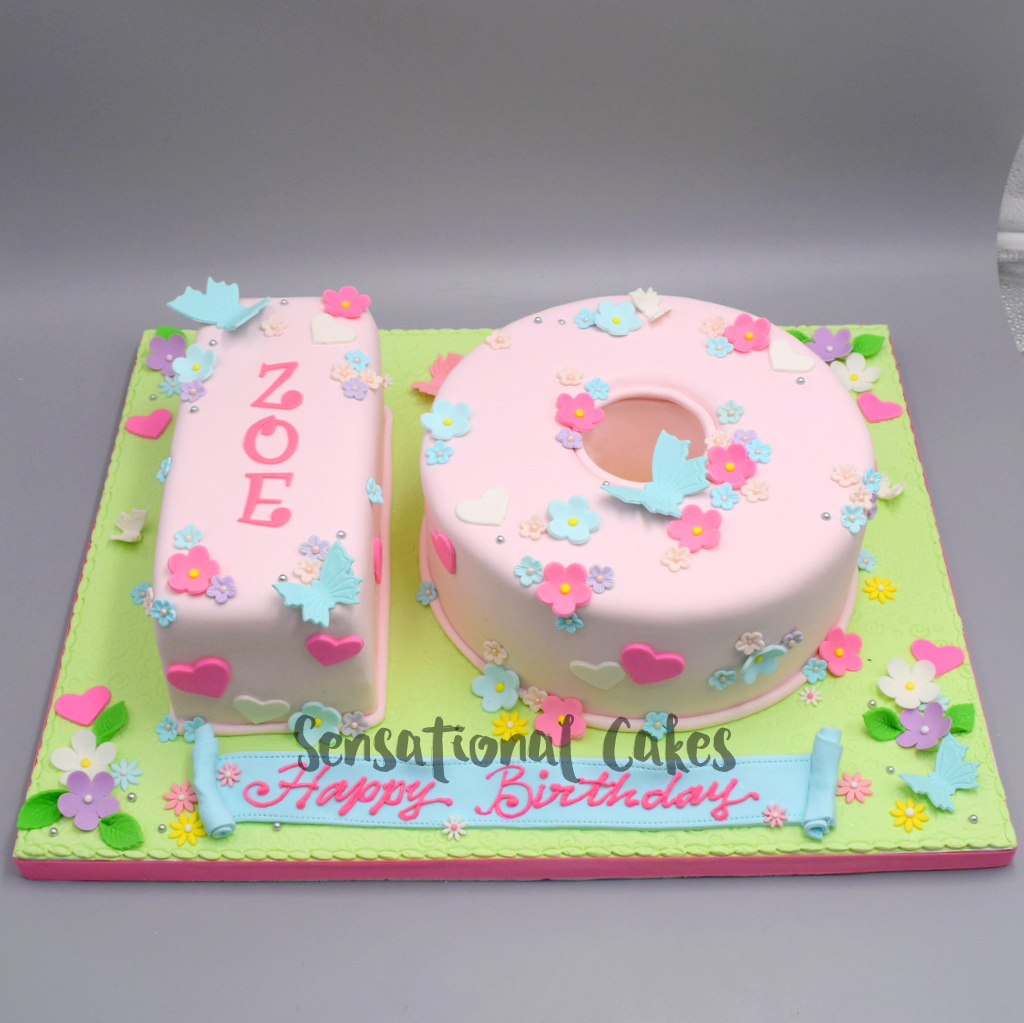 The Sensational Cakes Number 10 Cake Pink Flower And