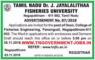 tamilnadu-fisheries-university-dean-vacancy-notification-november-2018
