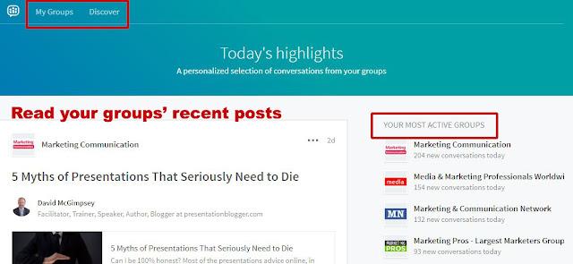 LinkedIn Groups home page