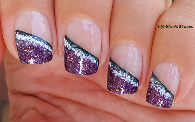 Life World Women: Geode Inspired Side French Tip Nails