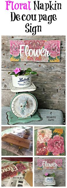 Napkin Decoupage Rustic Flower Sign organizedclutter.net