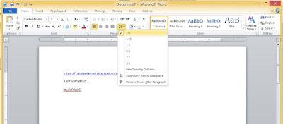 MS Word line spacing