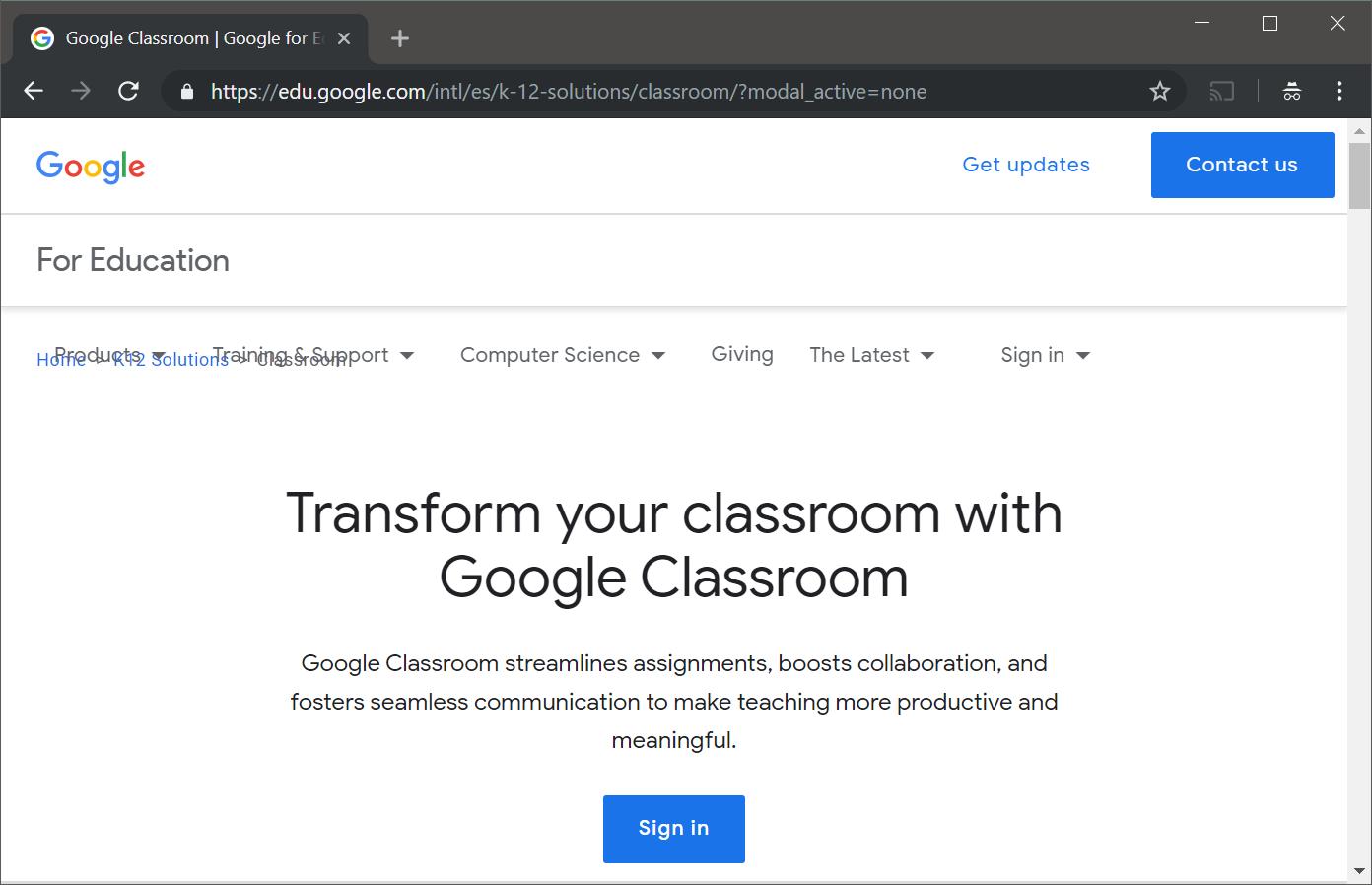 Iniciar sesion google classroom