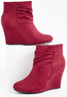 rue21 burgundy scrunched wedge heel