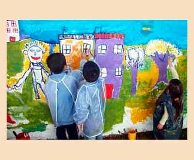 Mi sala amarilla proyecto murales en el nivel inicial for Mural una familia chicana