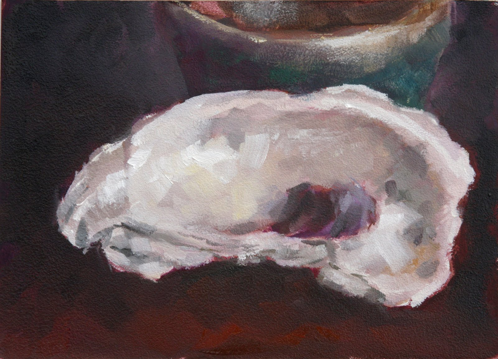 Clair Hartmann Daily Painting: Oyster Shell with Green Bowl