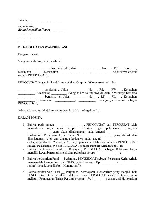 Contoh Surat Gugatan Perdata Lengkap Madreviewnet