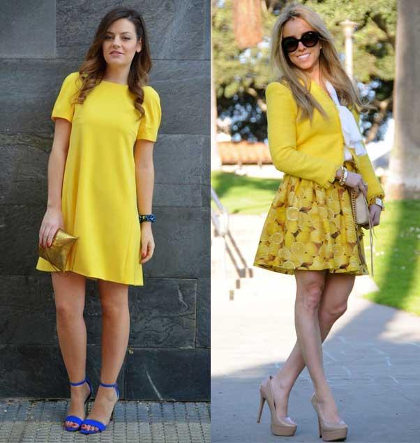 vestido amarillo zapatos