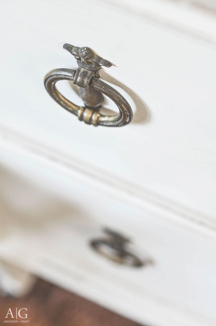 Antique hardware on a farmhouse style dresser.  |  www.andersonandgrant.com