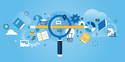 blue background with magnifying glass, pencil, charts, books, gadgets
