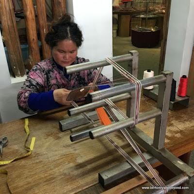 weaver at Dageeli Tribe House Restaurant in Hualien, Taiwan