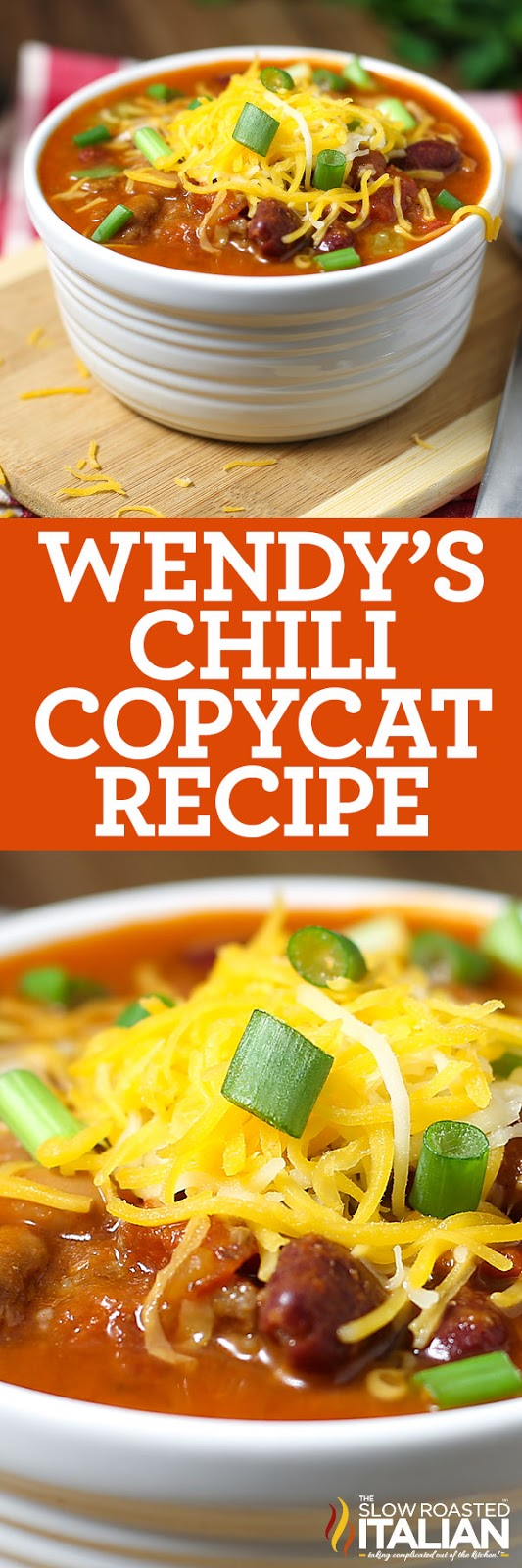 titled photo collage (and shown): Wendy's Chili Copycat Recipe