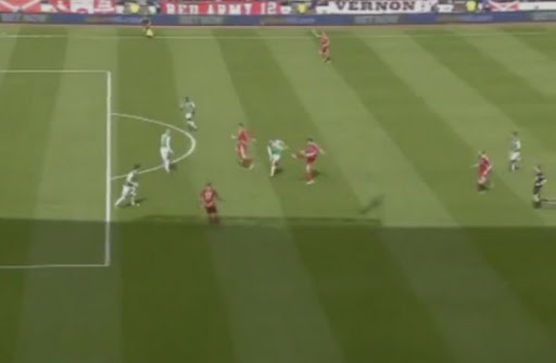 Aberdeen player Rory Fallon scores a wonder goal to equalise against Hibernian