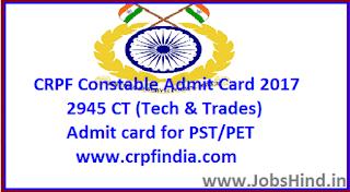 CRPF Constable Admit Card 2017