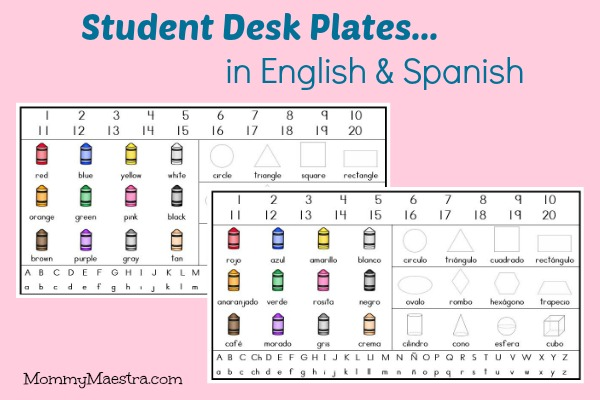 Mommy Maestra Free Download Student Desk Plates in English  Spanish PLUS a Giveaway