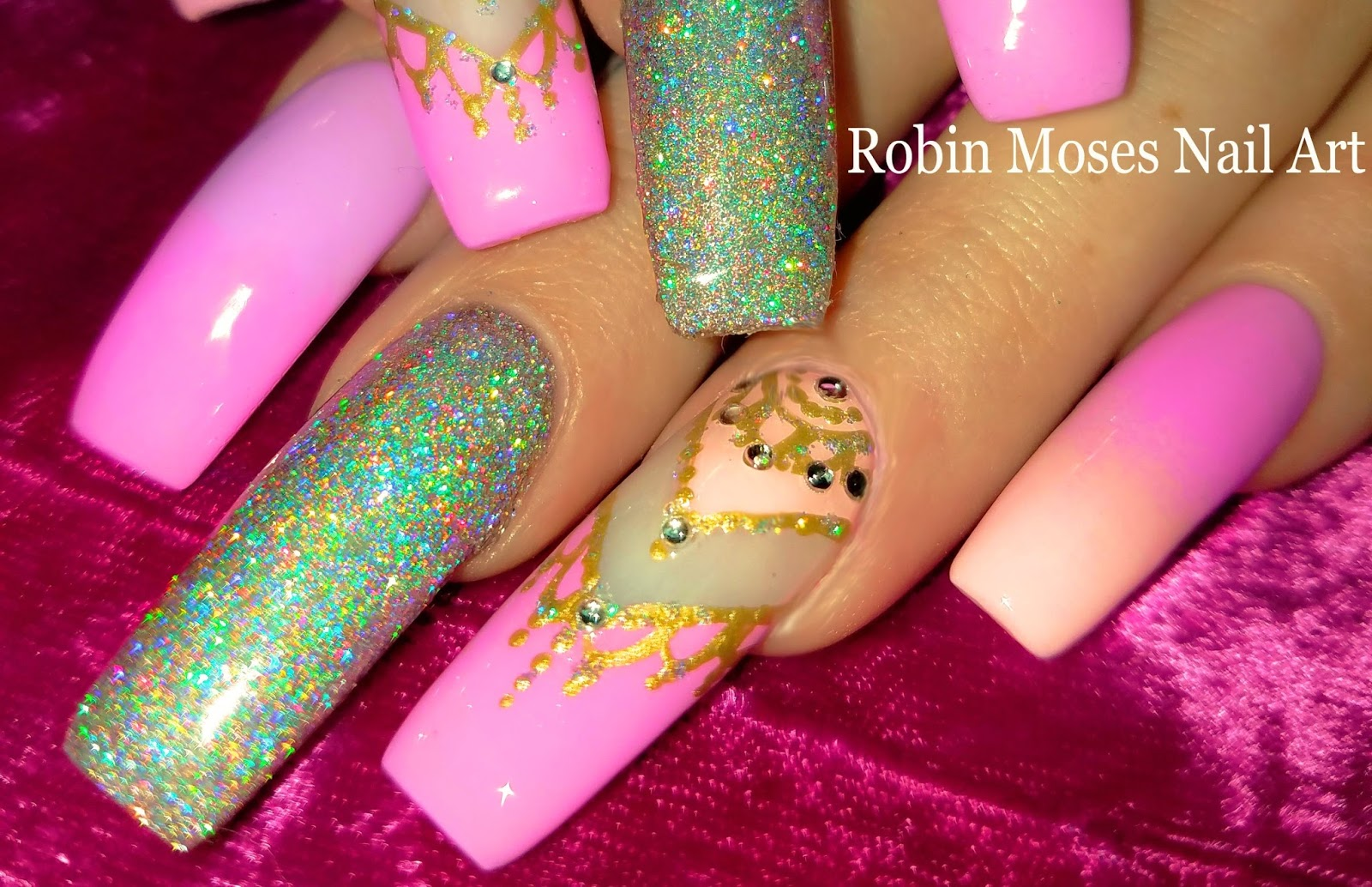 Robin moses nail art lush holographic glitter nail with pastel lush holographic glitter nail with pastel gradient and henna accent nails design prinsesfo Gallery