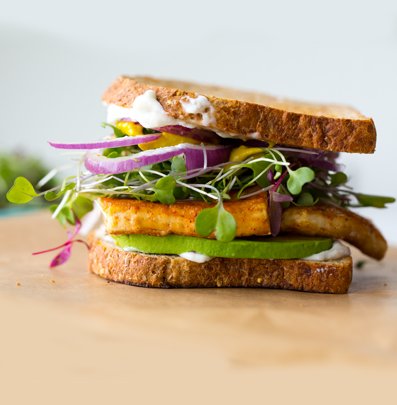 Vegan Lunch Sandwich with Sizzling Skillet Tofu, Avocado ...