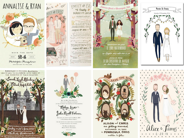 Convites de casamento com caricaturas do noivos