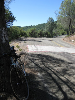 Bicycle downhill from the White Line Of Death on Mt. Umunhum Road, Sierra Azul Open Space Preserve, Los Gatos, California