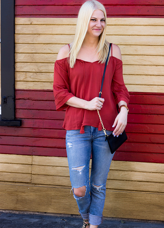 c9b8f48a0489b Stylish Outfit  The Perfect Fall Off The Shoulder Top