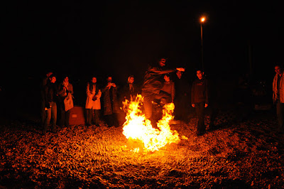 Iranians gathering around a bonfire on Chaharshanbeh Soori ceremony. Iran