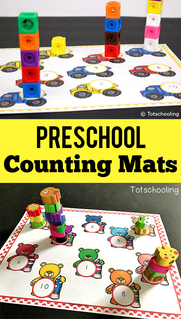 FREE counting mats for toddlers and preschoolers using hands-on manipulatives for stacking. Works on number recognition and one-to-one correspondence. There are 10 mats including many Spring-themed ones with bugs, rainbows and Easter peeps. Also includes year-round mats such as dump trucks, bears, fairies and pets.