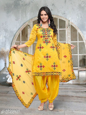 Aari Work Chanderi Cotton Suits | COD - Cash on delivery available