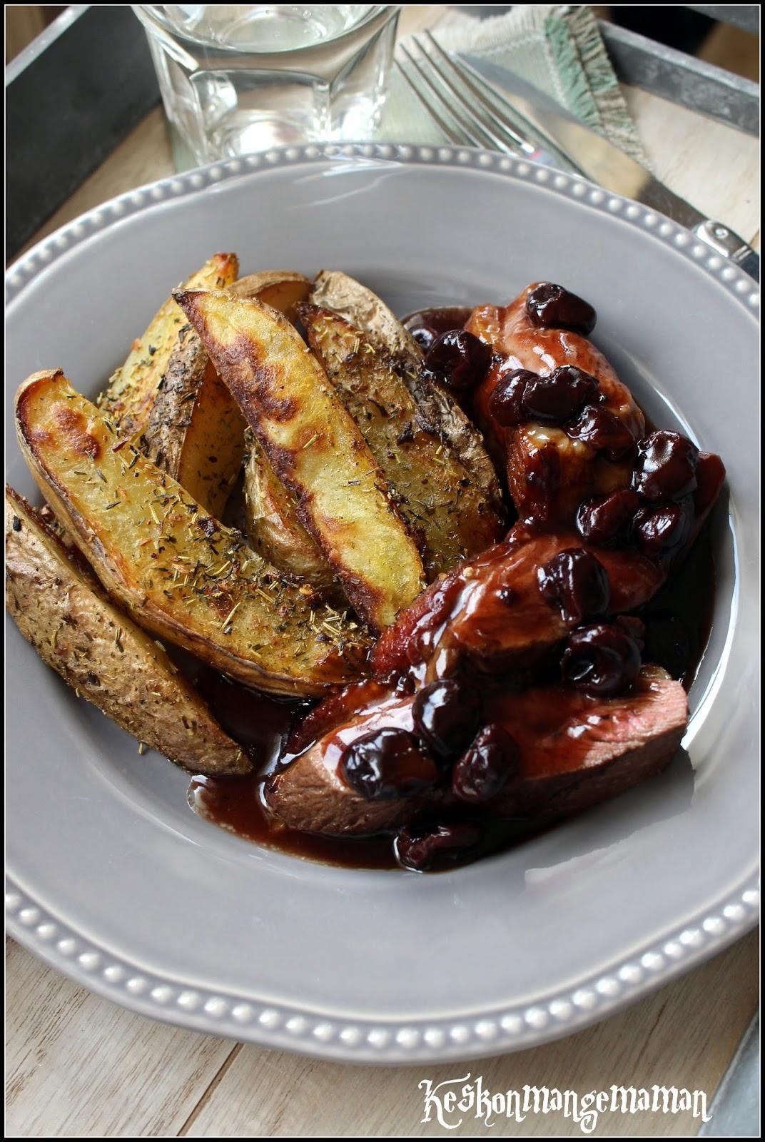 Keskonmangemaman magrets de canard aux cerises et au miel frites au four croustillantes for Cuisson magret canard au four