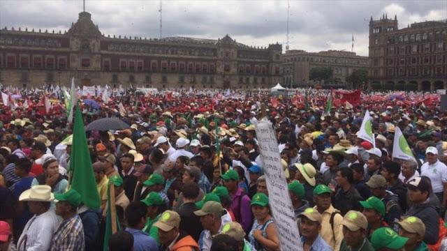 Campesinos marchan en Ciudad de México contra políticas de Gobierno