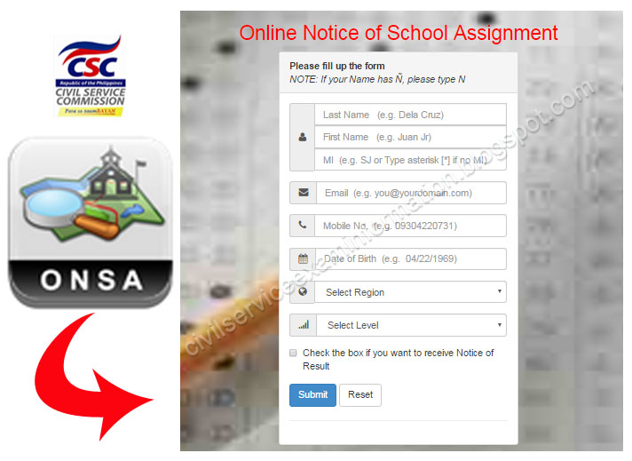 Civil Service Exam Ph Online Notice Of School Assignment Onsa