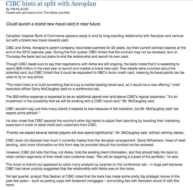 Rewards Canada: May 30 Update: CIBC And Aeroplan Break Up