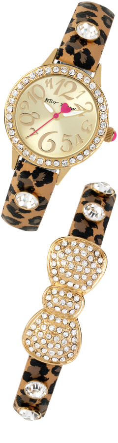 Betsey Johnson Women's Leopard Strap Watch and Bracelet