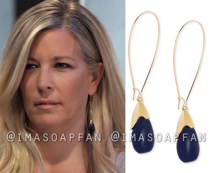 Carly Corinthos, Laura Wright, Dark Blue Bead Drop Hoop Earrings, General Hospital, GH
