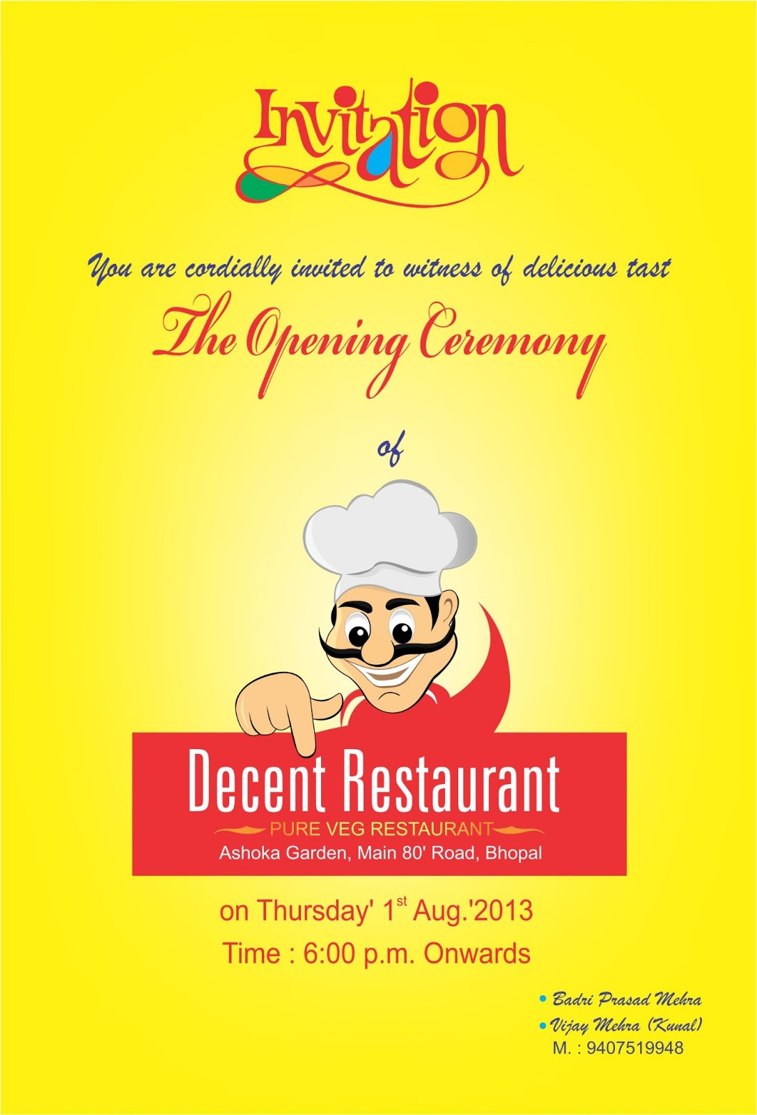 bhagat graphic designer  decent restaurant bhopal