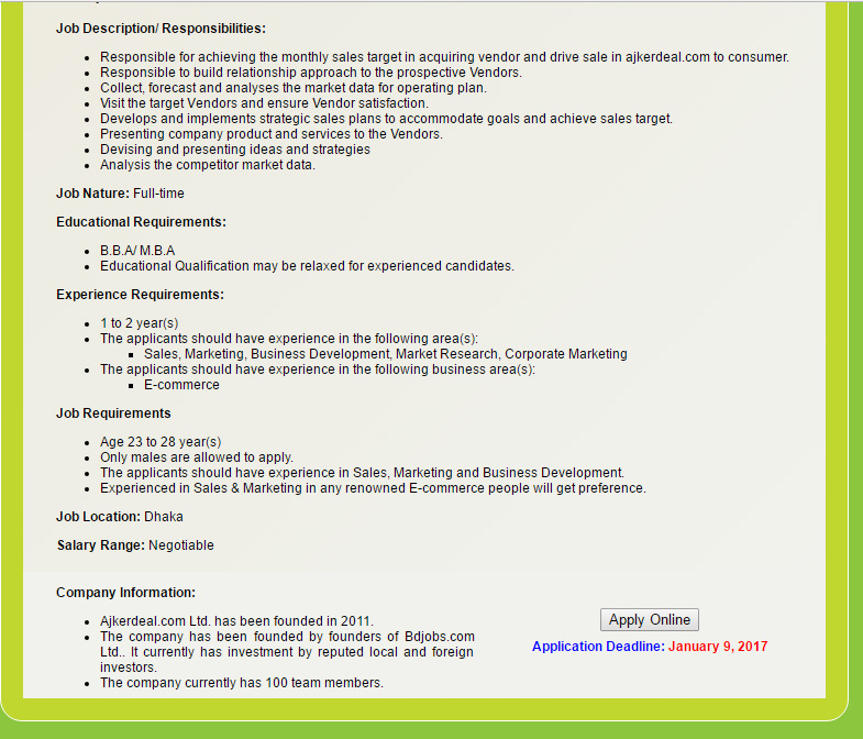 Ajkerdeal Ltd Executive/ Sr Executive Job Circular Archive