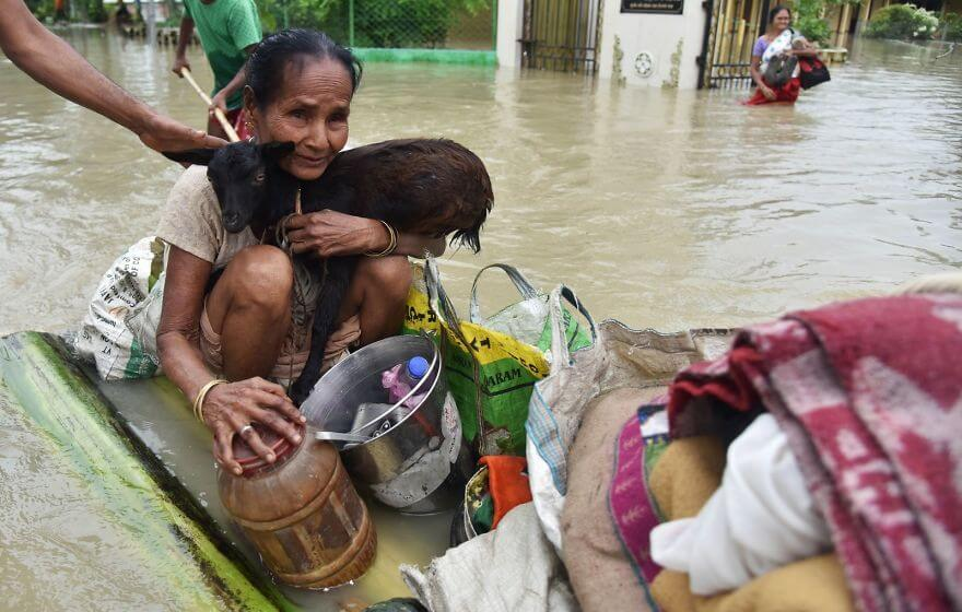 18 Devastating Pictures Of The Flooding In South Asia That Will Shock You - An Indian Woman Holds A Goat While Sitting On A Makeshift Raft In Koliabor Village In Assam