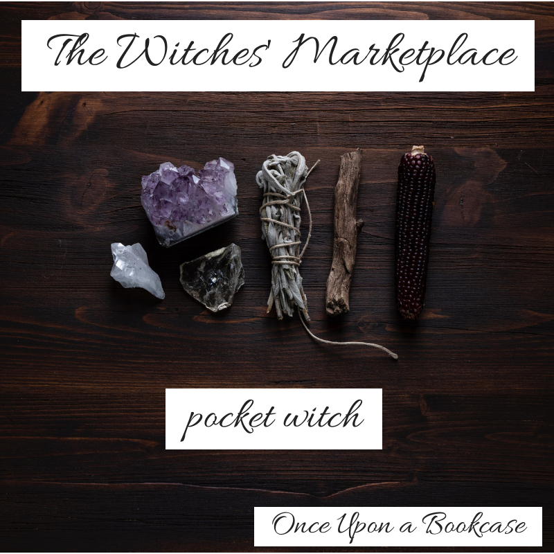 A photo of a witch's tools, featuring an amethyst, a clear quartz, a cleansing bundle, and a stick, with the words The Witches's Marketplace, pocket witch