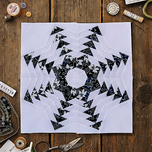 Snowflake Quilt Block Free Pattern designed by zwilliams of Today's Quilter