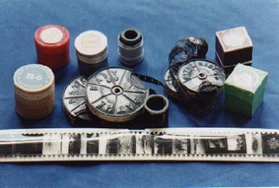 Films-flammes-9 mm  pour PATHE-KID  et bobines 35 mm à vues fixes (collection musée)
