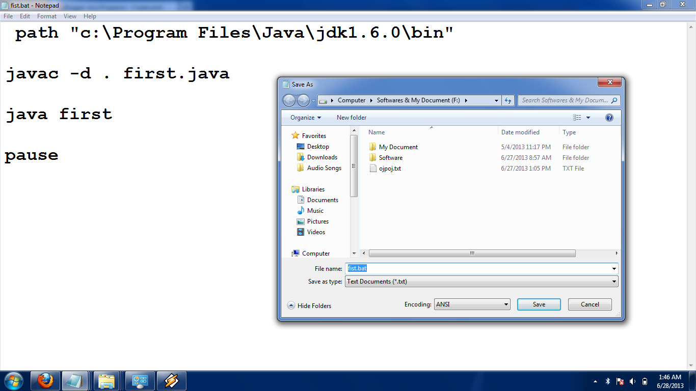 Java Programs : Create java  bat OR bat file