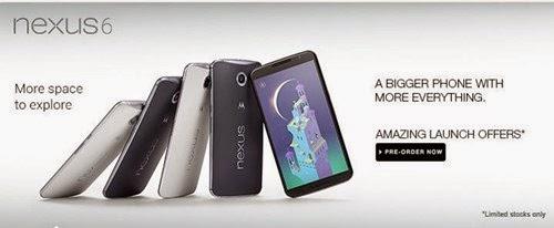 Buy Motorola Google Nexus 6 : Available for Pre-Order on Flipkart India Online Shopping