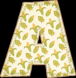 Abecedario con Mazorcas de Maíz. Alphabet with Corn.