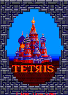 Pantalla de título de la recreativa Tetris de Atari, 1988